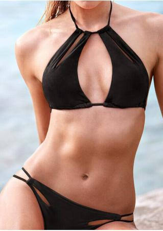 Solid Halter Hollow Out Bikini Set