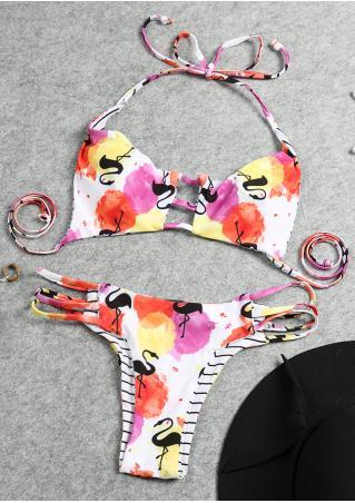 Printed Hollow out Halter Bikini Set