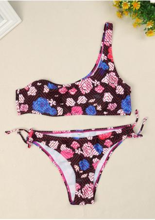 Floral One-Shoulder Bikini Set