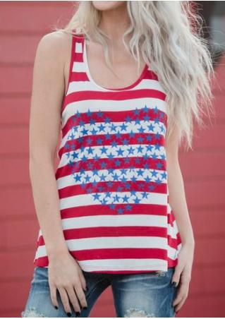 Striped Star Heart Tank