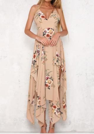 Floral Asymmetric Maxi Dress