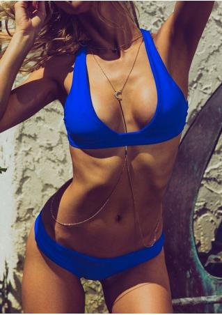 Solid Back Cross Bikini Set without Necklace