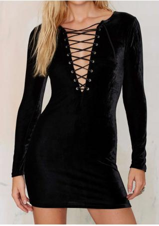 Solid Silk Velvet Lace Up Mini Dress
