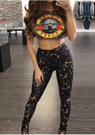 Letter Crop Top and Leggings Set