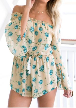 Floral Tassel Off Shoulder Romper without Necklace