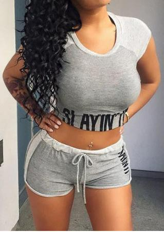 Letter Crop Top and Shorts Set