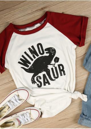 Winosaur Dinosaur Baseball T-Shirt