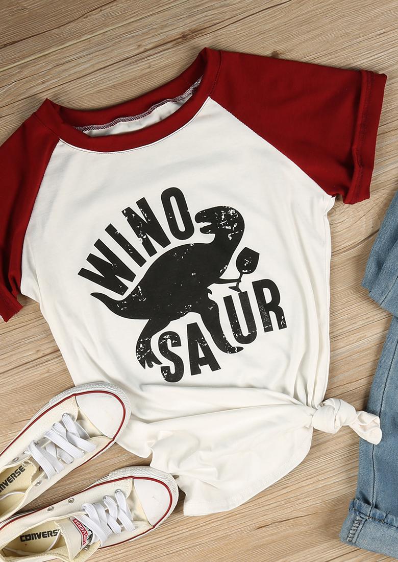 Winosaur Dinosaur Baseball T Shirt Bellelily