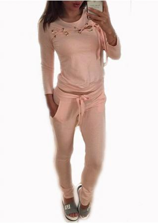Solid Lace Up T-Shirt and Pants Set