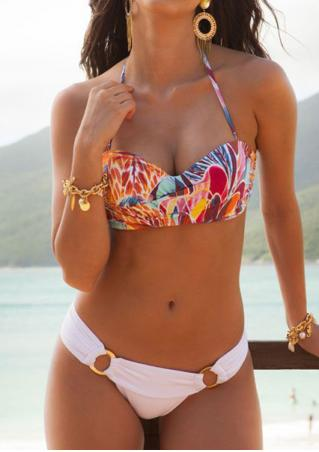 Multicolor Printed Ring Splicing Halter Bikini Set