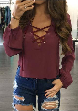 Solid Lace Up Side Slit Blouse