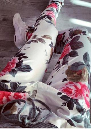 Floral Drawstring Casual Pants