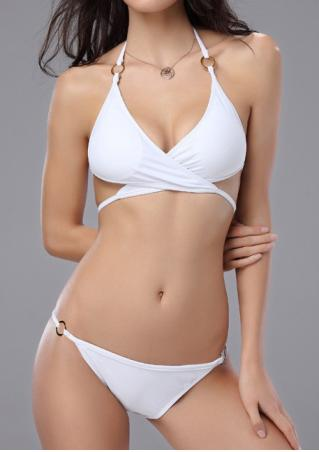 Solid Cross Ring Splicing Halter Bikini Set without Necklace