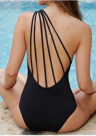 Solid Strappy Swimsuit without Necklace