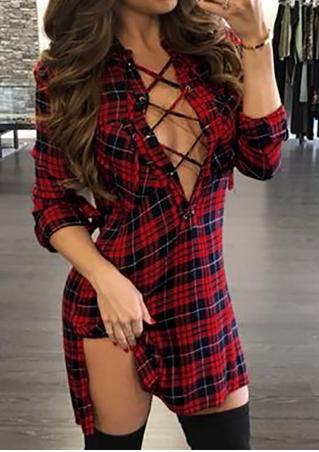 Plaid Lace Up Casual Dress