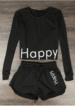 Happy Drawstring Pockets Crop Top and Shorts Set