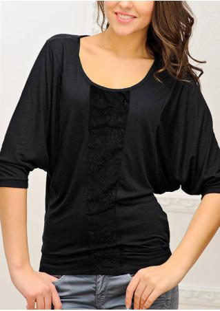 Solid Lace Splicing Batwing Sleeve Blouse
