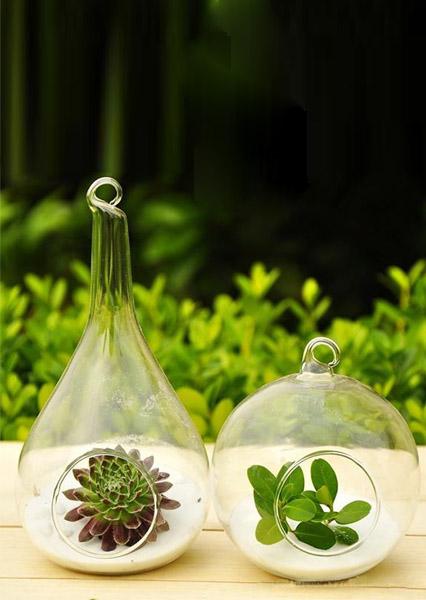 Glass Round Flower Hanging Vase Decor Bellelily