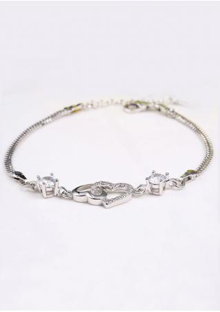 Imitated Crystal Heart Metal Chain Bracelet