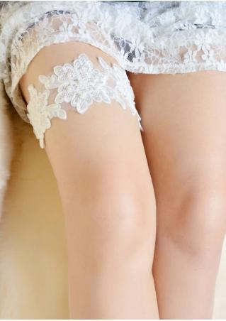 Lace Floral Beads Garter