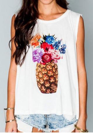 Pineapple Asymmetric Floral Tank