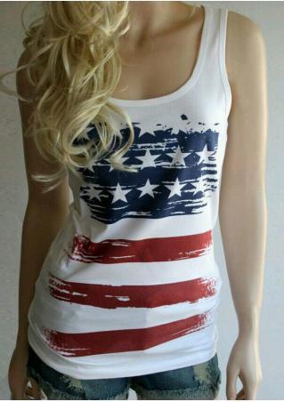 American Flag Printed Tank