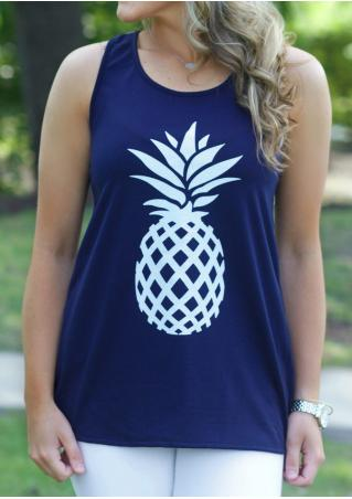 Pineapple Printed Bowknot Tank