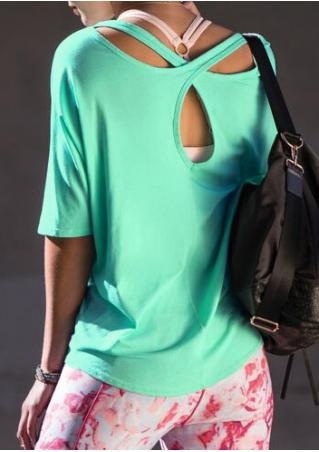 Back Criss-Crose Solid Blouse without Necklace
