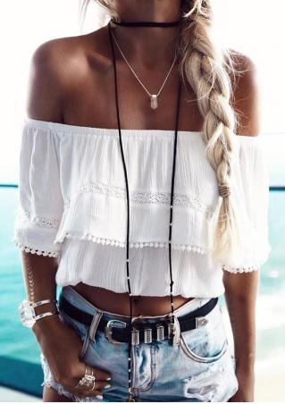 Off Shoulder Tassel Crop Top without Necklace