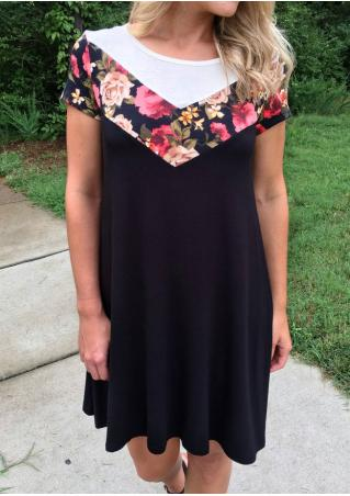 Floral Splicing Casual Dress