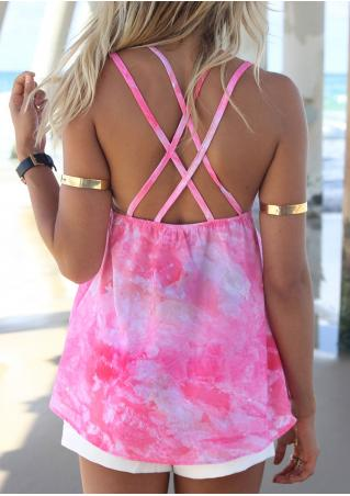 Tie Dye V-Neck Backless Camisole without Necklace