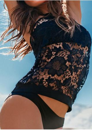 Solid Lace Floral Halter Tankini