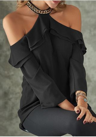 Solid Chain Layered Off Shoulder Blouse with Choker Detail