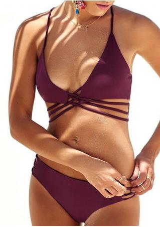 Solid Strappy Bikini Set without Necklace