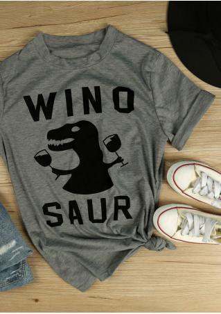 Winosaur Dinosaur Printed Short Sleeve T-Shirt