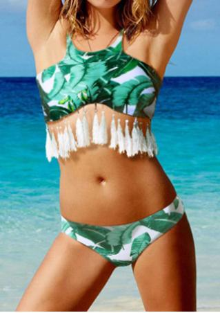 Leaf Printed Tassel Halter Bikini Set without Necklace