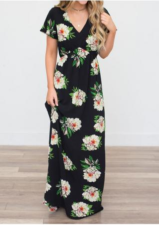 Floral Short Sleeve V-Neck Maxi Dress without Necklace