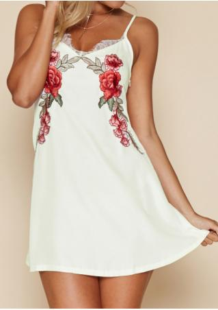 Floral Embroidery Lace Mini Dress without Necklace