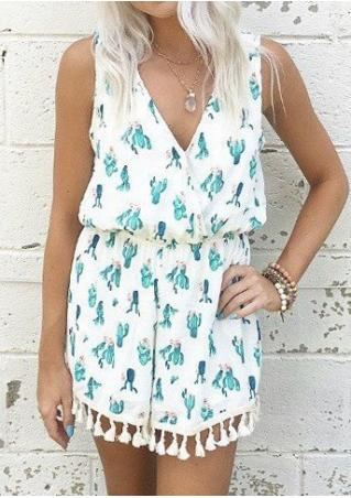 Cactus Tassel Backless Romper without Necklace