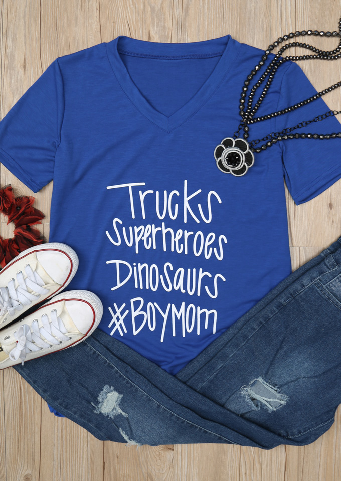 Trucks Superheroes Dinosaurs Boy Mom T Shirt Bellelily