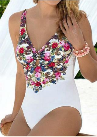 Floral Hole Deep V-Neck Swimsuit