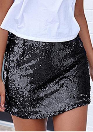 Solid Sequined Slim Mini Skirt