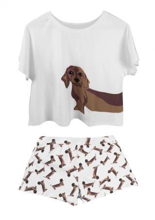Dog Printed Crop Top and Shorts Set