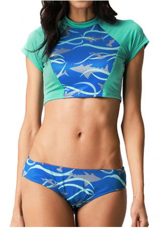 Dolphin Printed Splicing Tankini