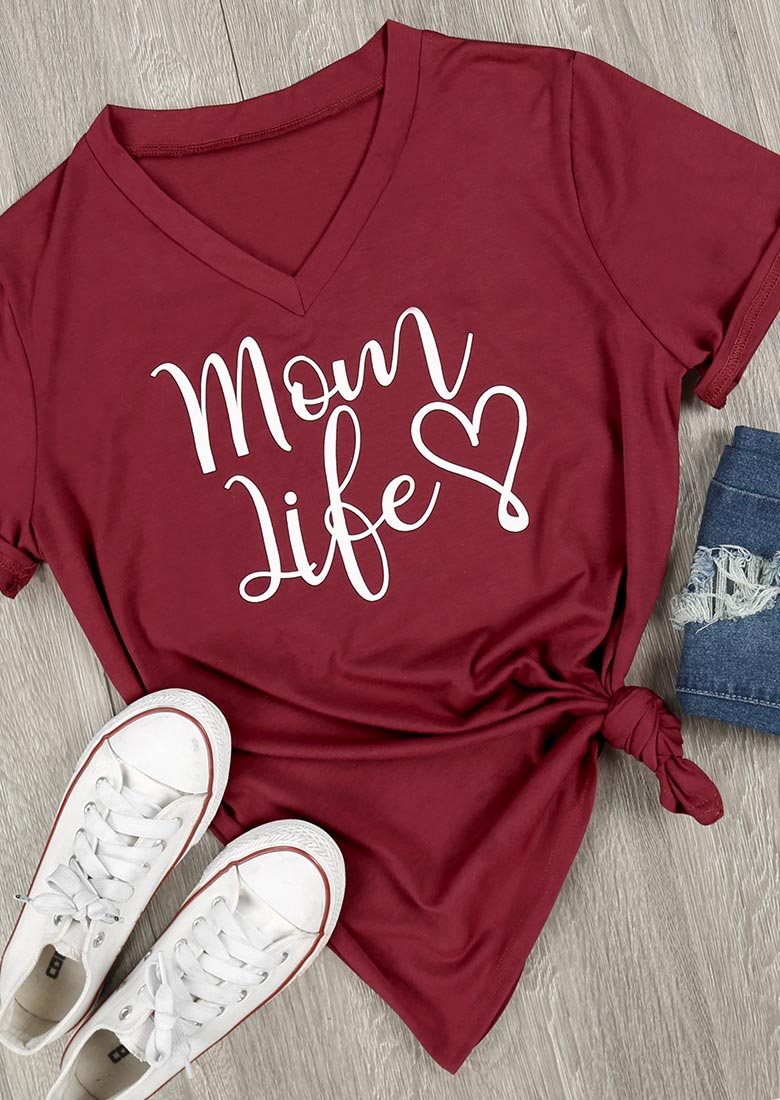 Mom Life Heart V Neck T Shirt Bellelily