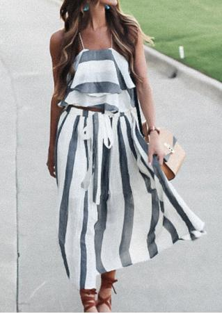 Striped Flouncing Layered Two-Piece Dress