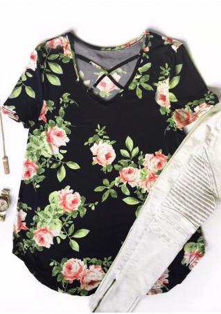 Floral Criss-Cross Blouse