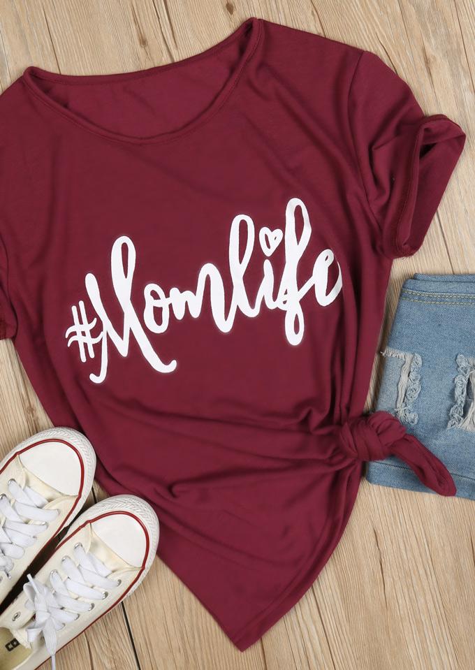 Mom Life O Neck T Shirt Bellelily