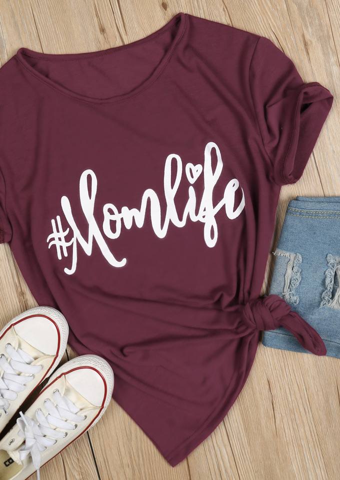 Mom Life O Neck T Shirt Bellelily