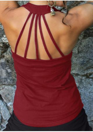 Solid Strappy Backless Tank